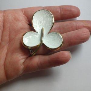 vintage Alan Jay White  gold tone Clover brooch